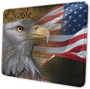 Vintage USA Flag American Patriotic Eagle Gaming Mouse Pad with Stitched Edges, Customized Rectangle Mousepad Non-Slip Rubber Base for Computer Laptop Office Accessories 9.5 x 7.9 Inch