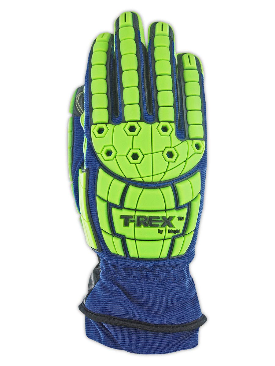 Magid Insulated Winter Work Gloves   Leather Coated Cut Resistant Impact Safety Gloves with Thermal Liner & Waterproof Membrane - Blue/Green, Size XL (1 Pair) by Magid Glove & Safety (Image #3)