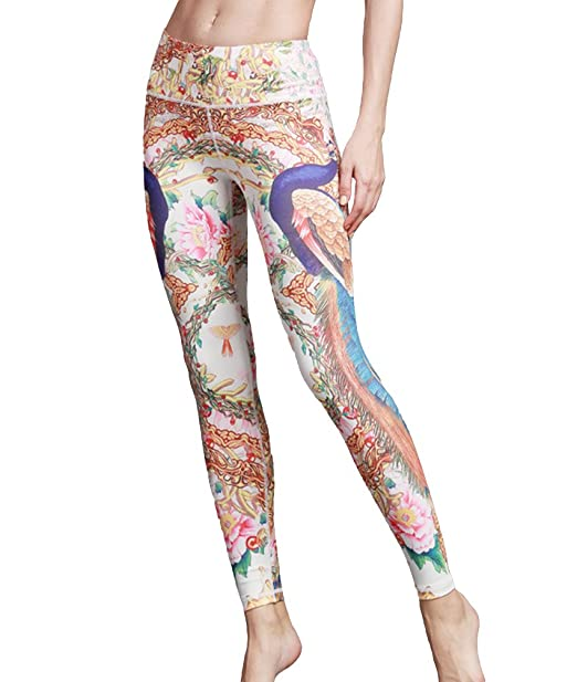 LINNUO Mujer Impresión Polainas Yoga Fitness Pantalones Entrenamiento Deportes Elasticos Pantalones Talle Alto