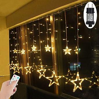 Weihnachtsbeleuchtung Led Fernbedienung.Led Lichtervorhang Sterne Warmweiß Mit Fernbedienung Weihnachtsbeleuchtung Innen Fenster Für Weihnachten Party Hochzeit Ip44 31v 8 Modi Mit Timer