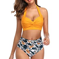 Tuopuda Mujer Retro Cintura Alta Conjunto de Bikini de Dos Piezas con Pliegues Halter Fruncido Push Up Arriba Trajes de…