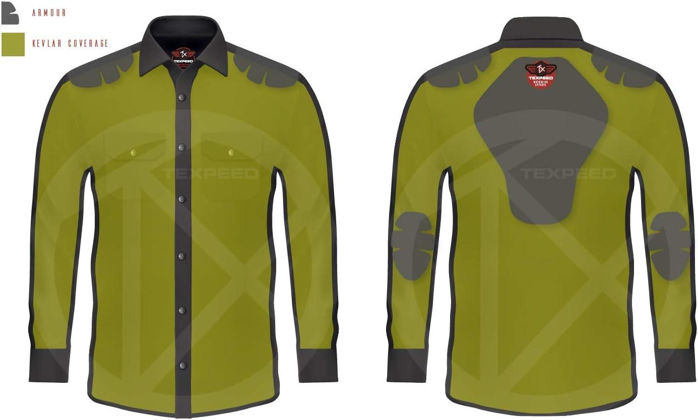 in 3 Farben verf/ügbar M mit Kevlar gef/üttert Herren Motorradhemd mit Protektoren Texpeed