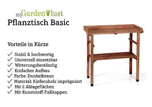 Elegant MyGardenlust Pflanztisch Für Garten Balkon Und Terrasse Gartentisch  Rechteckig Aus Kiefern Holz Blumentisch Pflanzentisch 80 X