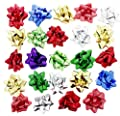 Christmas Holiday Decorative Gift Wrapping Self Adhesive Bows, Assorted Colors, 48 Count, 2.5""