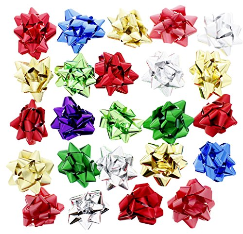Christmas Holiday Decorative Gift Wrapping Self Adhesive Bows, Assorted Colors, 48 Count, - Bows Assorted