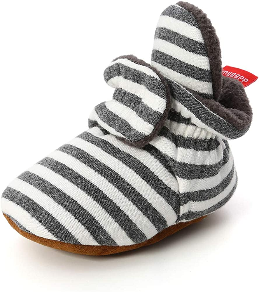 Methee Newborn Baby Boys Girls Booties Stay On Sock Slippers Soft Sole Crib Shoes Infant Toddler Winter Boots,Navy Gray 12-18 Montes Toddler