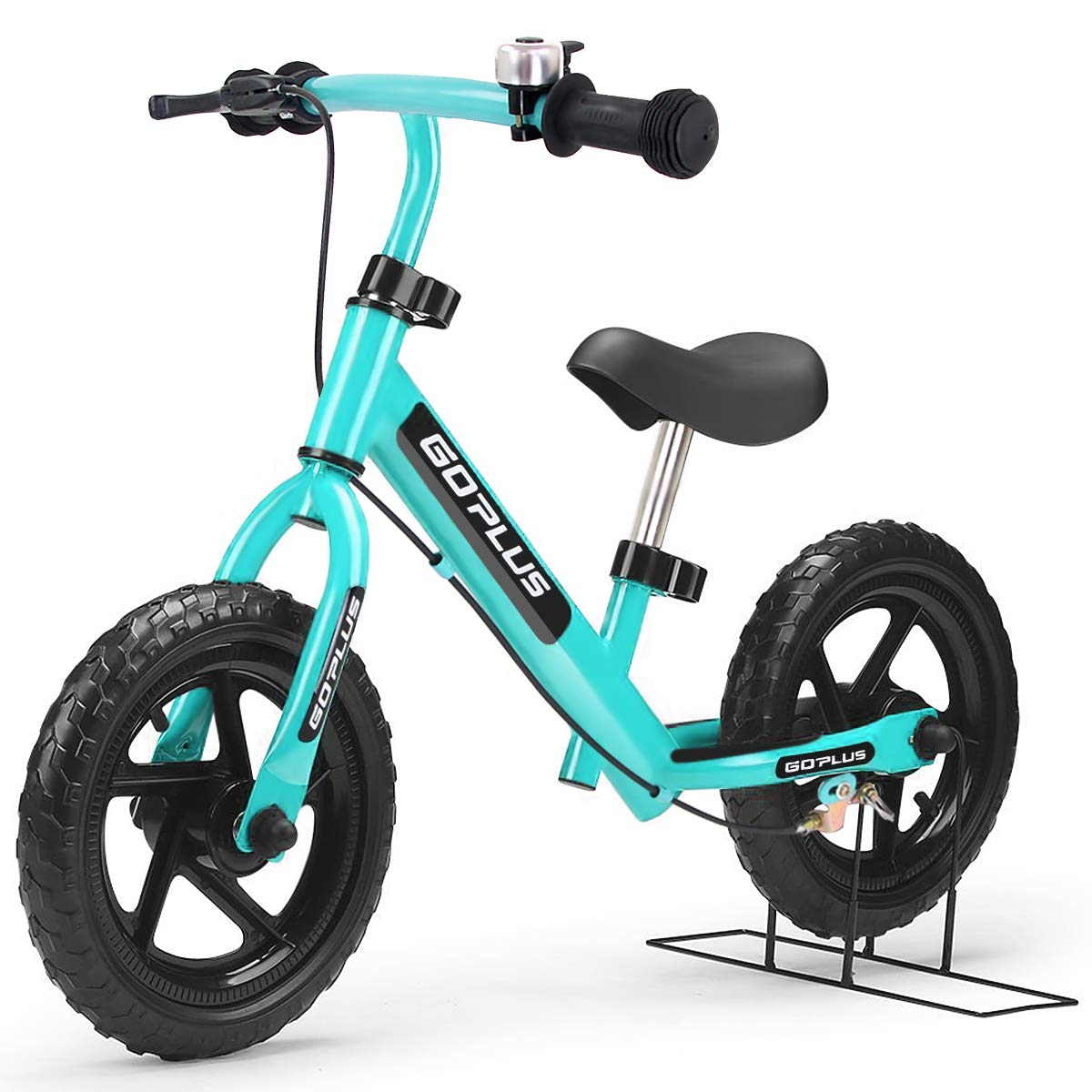 Goplus 12'' Kids Balance Bike No-Pedal Learn to Ride Pre Bike Push Walking Bicycle Adjustable Height with Bell Ring and Stand (Light Blue)