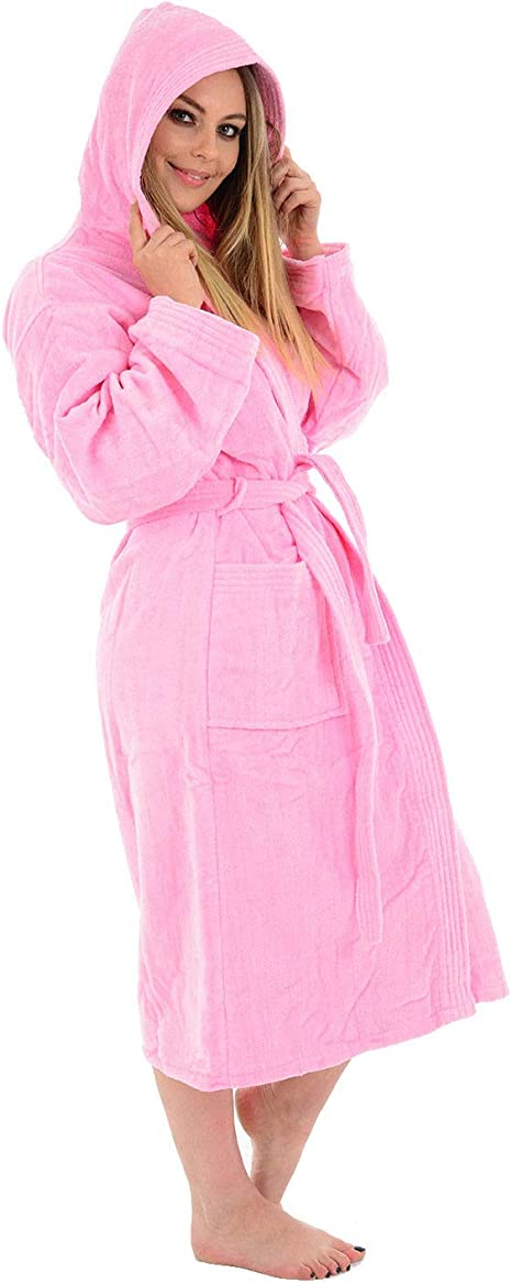 (Small / Medium, Pink / Hooded) - Unisex 100% Luxury Egyptian Cotton Super Soft Velour Towelling Bath Robe Dressing Gowns Bathrobe Terry Towel Housecoat Nightwear Lounge Wears With Pockets And Belt