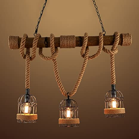 Baycheer hl448735 industrial 3 lights pendant light ceiling lighting baycheer hl448735 industrial 3 lights pendant light ceiling lighting hanging lamp chandelier lantern style with rope mozeypictures Image collections