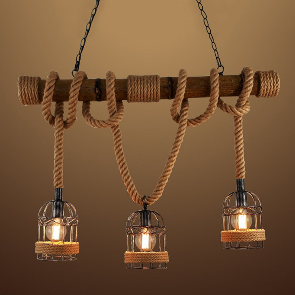 BAYCHEER HL448735 Industrial 3 Lights Pendant Light Ceiling Lighting Hanging Lamp Chandelier Lantern Style with Rope Cage Frame & Wood Decoration for Indoor Bar Warehouse Hallway Use E26 Bulbs