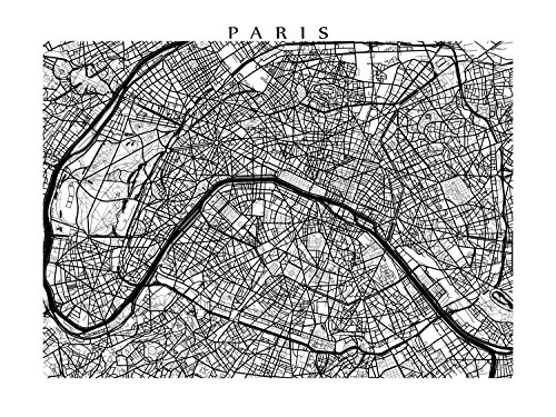 Amazon.com: Paris Black and White Map Print: Handmade