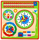 LELIN WOODEN CALENDER WALL MOUNT CLOCK CHILDRENS LEARNING EDUCATIONAL WEATHER SEASON TOY