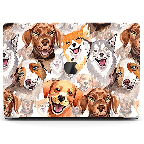 Wonder Wild Case for MacBook Air 13 inch Pro 15 2019 2018 Retina 12 11 Apple Hard Mac Protective Cover Touch Bar 2017 2016 2015 Plastic Laptop Print Dogs Pattern Cute Happy Animals Puppy Watercolor]()