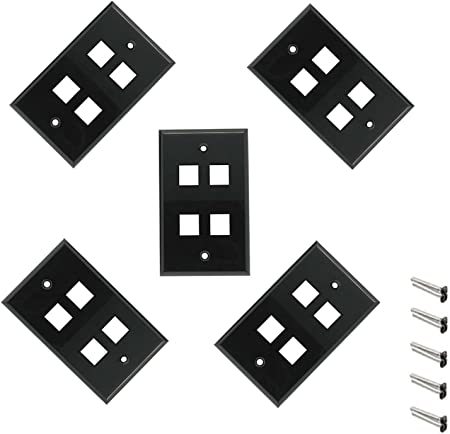 1-Gang 2 Port Hole Wall Plate Faceplate Cover Keystone Jack Insert Outlet Black