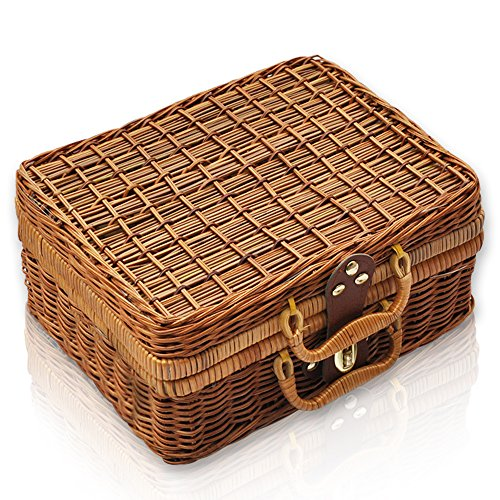 QTKJ Wicker Picnic Basket, Straw Storage Box with Handles, Gingham Pattern Lining Willow Lunch Box, Leather Strap Metal Lock Retro Suitcase Prop Box (Vintage Suitcase Wicker)