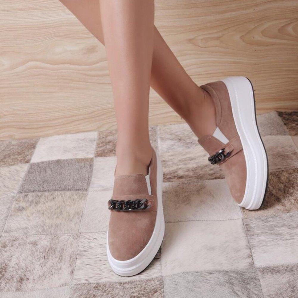 GAOLIXIA Frauen Loafers Leder Schuhe Frühling Leder Loafers College Wind Lose Schuhe Flache Freizeitschuhe Grau Rosa 432e71