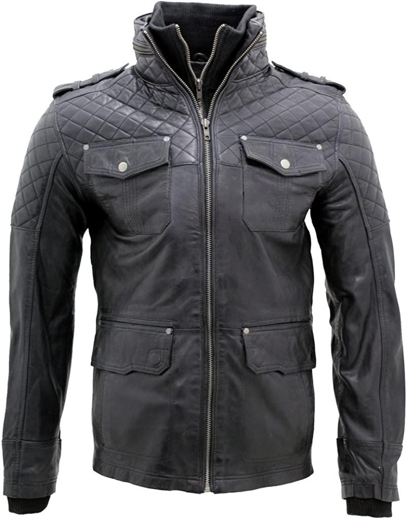 Infinity New Men/'s Casual 100/% Sheepskin Black Quilted Slim Fit Leather Jacket