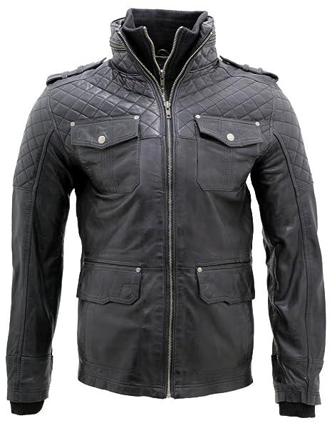 Hombres piel de oveja negro Nappa cuero Quilted chaqueta XS