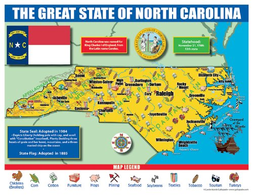 Gallopade Publishing Group North Carolina State Map for Students - Pack of 30 - Of Legends City Map Kansas