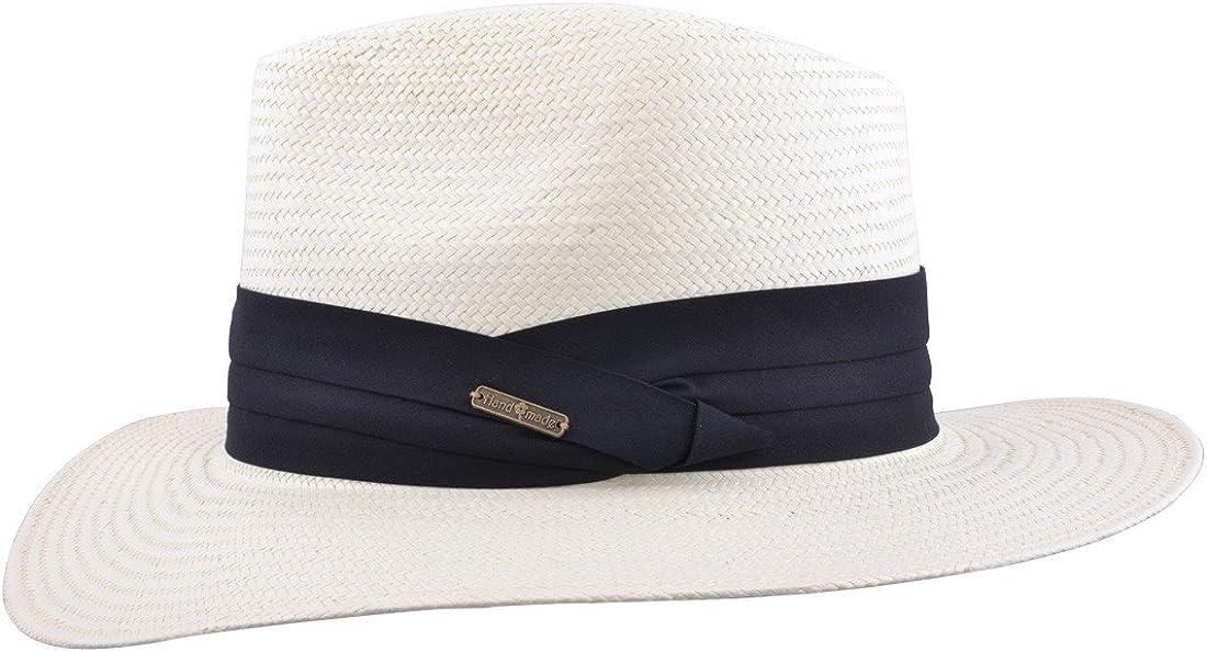 MAZ Cappello estivo Panama Fedora con fascia e fascia regolabile