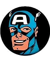 Retro Captain America Smiling Face Shot on Black Button / Pin