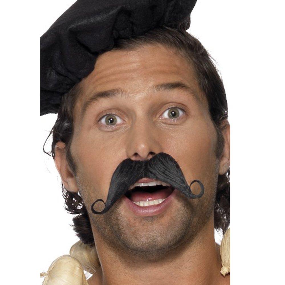 Smiffys Men's Frenchman Moustache, Black, One Size