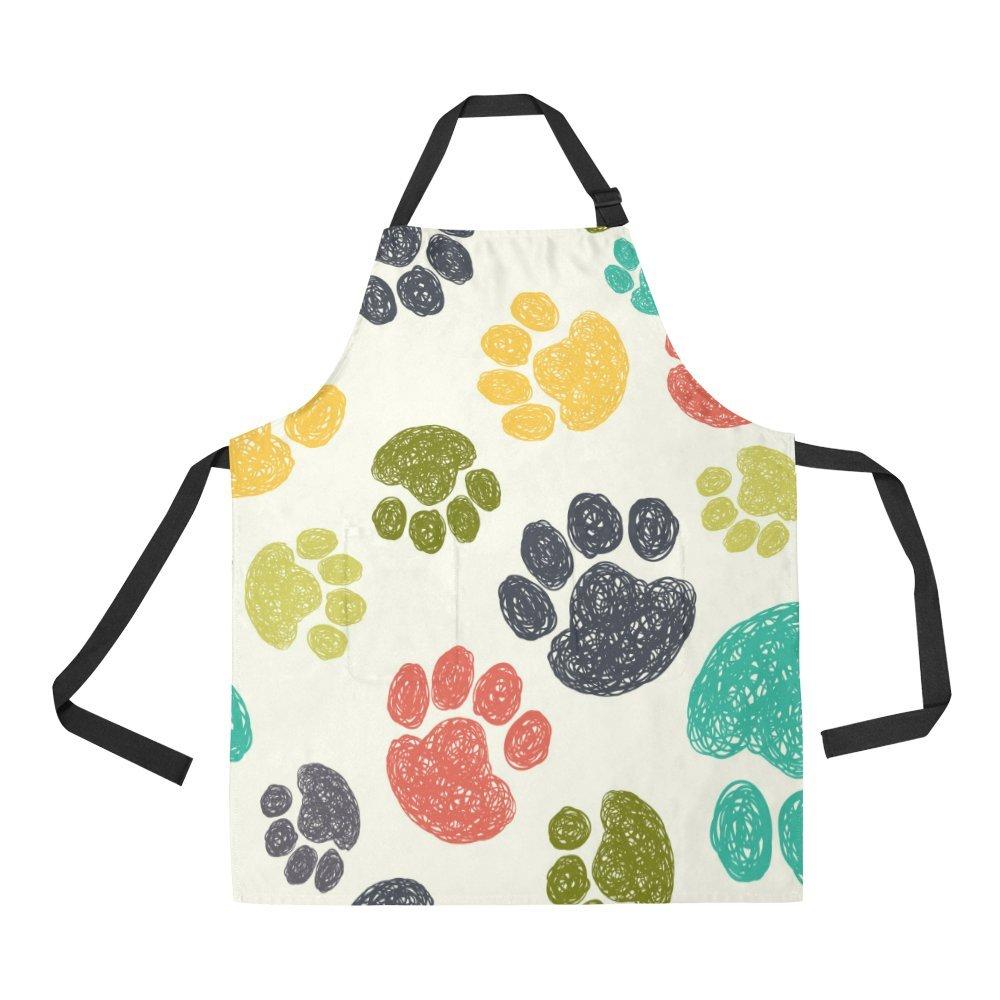 Adjustable Bib Apron with Pocket Cute Corgi Seamless Pattern on Pink Kitchen Apron for Cooking Baking Gardening