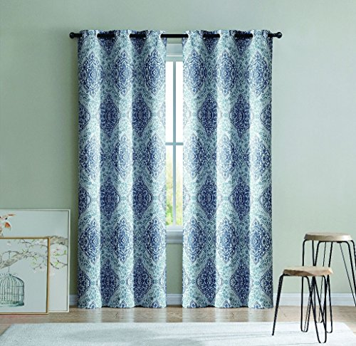 HowPlumb 2 Blackout Room Darkening Window Curtains Blue Medallion Grommet Panel Pair Drapes, 84-in. (Blue Chocolate And Drapes)