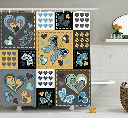 Heart Set Ornaments (Ambesonne Vintage Shower Curtain, Dark Textured Vintage Ornament with Heart and Butterfly Motif in Mix Retro Design, Fabric Bathroom Decor Set with Hooks, 70 Inches, Multicolor)