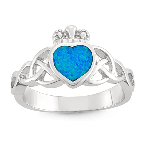 Sterling Silver Created Opal Celtic Design Claddagh Ring
