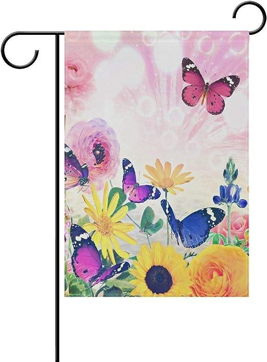 YATELI Flor de Primavera de Doble Cara Acuarela Girasol y Mariposa Verano Poliéster Bandera de jardín Bandera 12x18 Pulgadas para decoración de jardín de Exterior: Amazon.es: Jardín