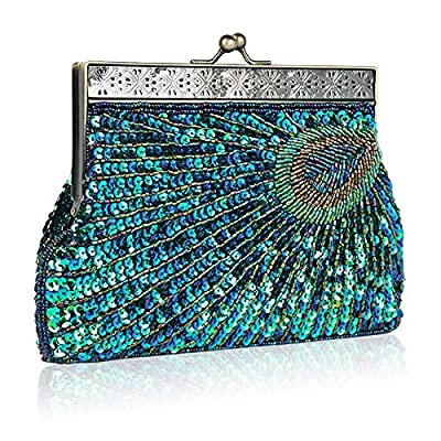 Womens Evening Designer Handbag Vintage Clutch Sequin Peacock Antique Beaded Prom Party Wedding Purse
