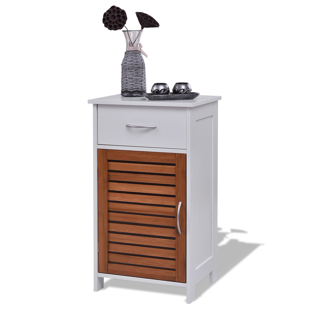 WATERJOY Storage Cabinet, Wooden Floor Cabinet Shutter Door Drawer, Elegant Bedside Cabinet Bathroom, Bedroom Living Room, White