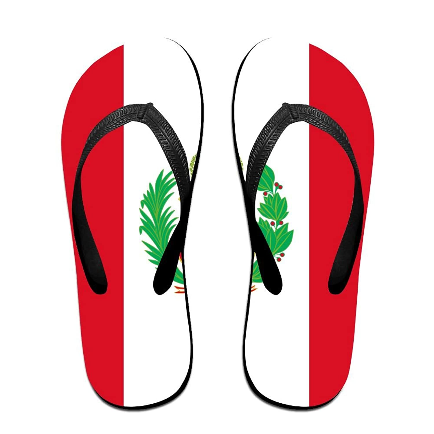 Flag Of Peru Cool Flip Flops For Children Adults Men And Women Beach Sandals Pool Party Slippers