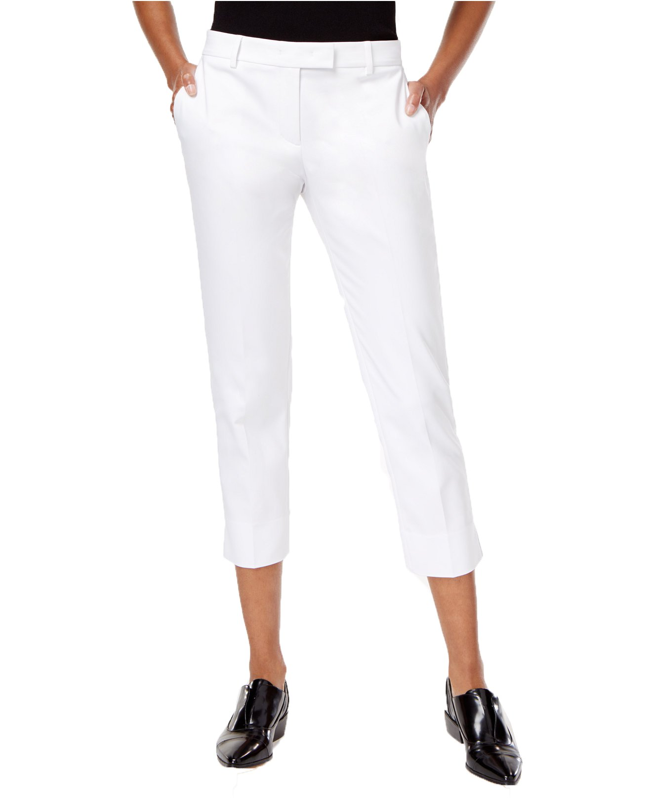 DKNY Women's Cropped Straight-Leg Pants (12, White)
