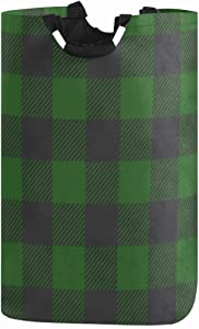 Green Black Plaid Large Laundry Basket Buffalo Checkers Tartan Collapsible Laundry Hamper with Handles Waterproof Durable Clothes Washing Bin Dirty Baskets Storage for Home College Dorm Bathroom