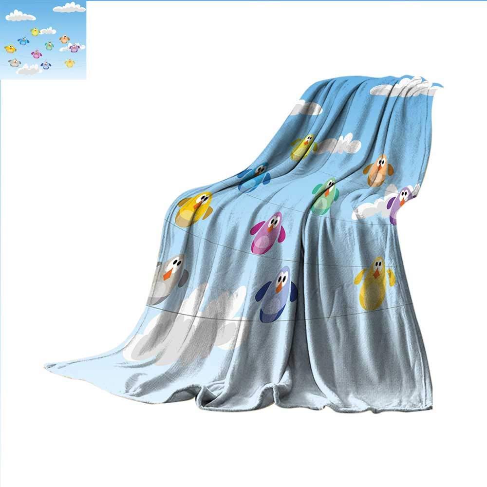 smallbeefly 子供部屋用軽量ブランケット かわいいハッピーラバーダックとバブル アニメ柄 子供のテーマ アートデジタルプリントブランケット アクアとイエロー 80