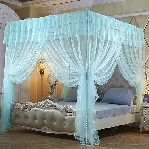 Mengersi 4 Corner Poster Princess Bedding Curtain Canopy Mosquito Netting Canopies (Light Blue, Queen) (Poster Canopy)