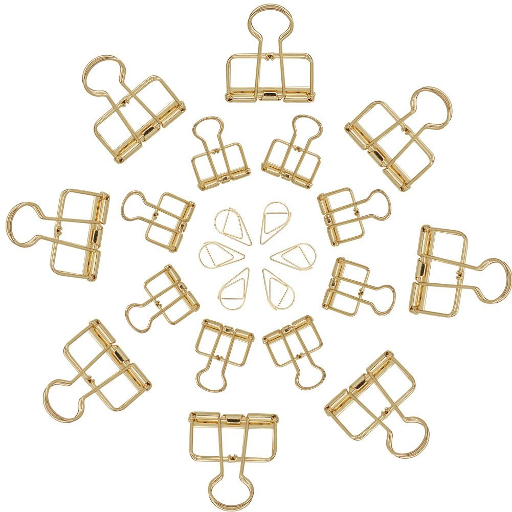 NBEADS 136PCS Gold graffette Hollow metal clip organizer per office-120pezzi goccia graffette, 8pezzi 33mm Wire raccoglitori clip e 8pezzi 19mm Wire raccoglitori clip