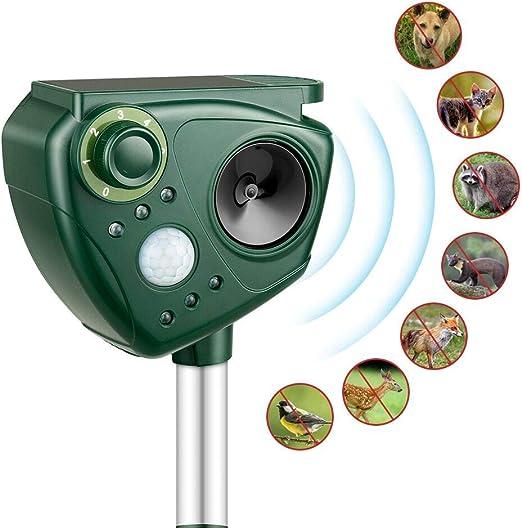 Repelente de Gatos, Kaifire Solar Ahuyentador Ultrasónico para Animales, con LED Espantar Ratones Perros Gatos Pájaros Zorros Uso para Exterior y Jardín Impermeable: Amazon.es: Jardín