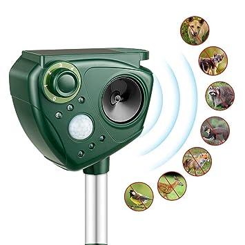 Repelente de Gatos, Kaifire Solar Ahuyentador Ultrasónico para Animales, con LED Espantar Ratones Perros Gatos Pájaros Zorros Uso para Exterior y Jardín ...