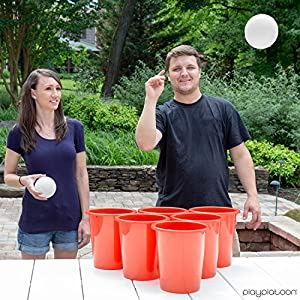 Play Platoon Giant Yard Pong Set – 12 Buckets & 2 Balls for Lawn Beer Pong Game