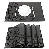 LogHog Placemats Set of 4,Heat Insulation Eco-Friendly PVC Placemat No-Slip Washable Kitchen Restaurant Woven Vinyl Table Mats(Black Flower)