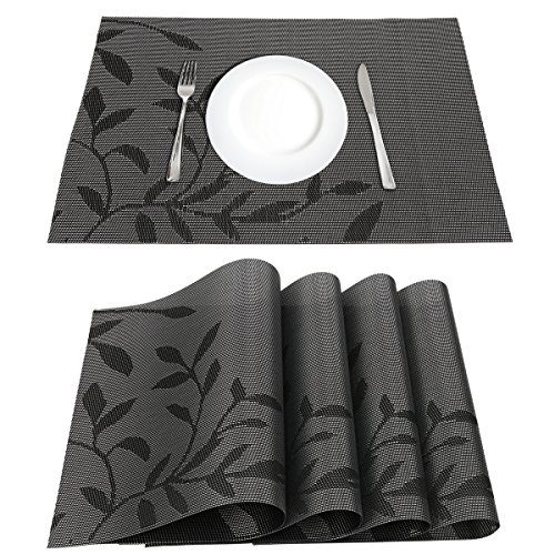 LogHog Placemats Set of 4,Heat Insulation Eco-Friendly PVC Placemat No-Slip Washable Kitchen Restaurant Woven Vinyl Table Mats(Black Flower) by LogHog