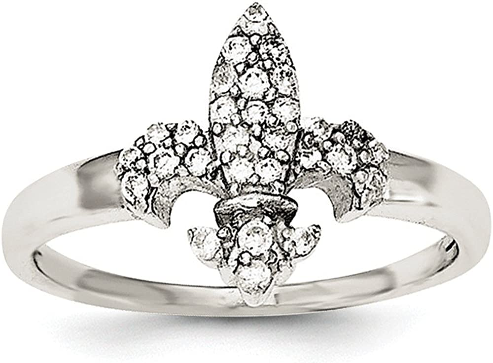 Solid .925 Sterling Silver /& CZ Cubic Zirconia Brilliant Embers Polished Mens Ring