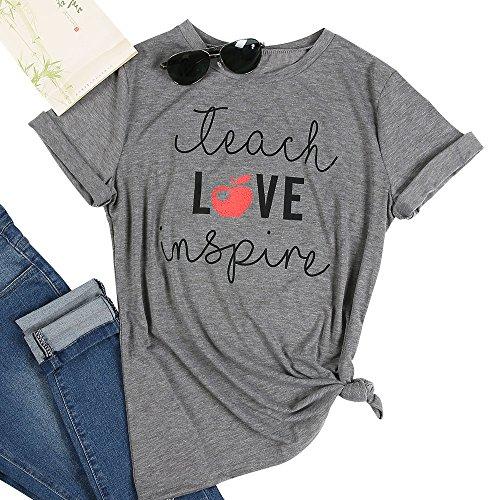 (Vin beauty Teach Love Inspire Printed Short Sleeve Shirt for)