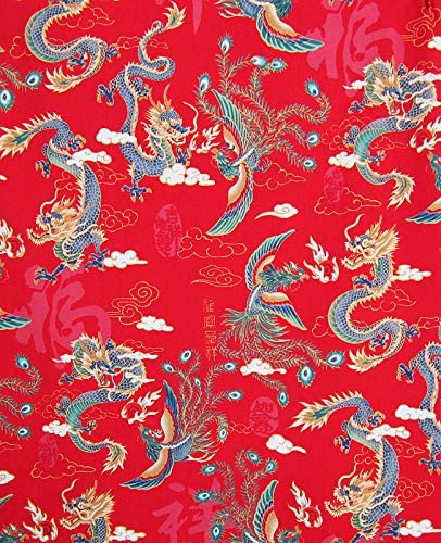 BTY Ivory Asian Japanese Quilt Fabric CHINESE DRAGON /& PHOENIX