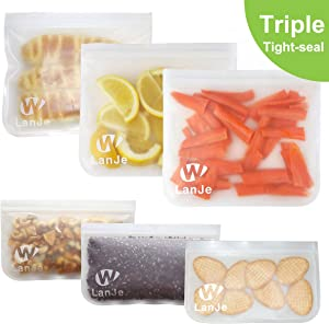 Triple Zipper Large Reusable Sandwich and Snack Bags Kids Leakproof,Reusable Ziplock Food Storage Bags Freezer Safe BPA Free,Extra Thick Kitchen Lunch Travel Baggies for Fruit Veggies Meat Seafood