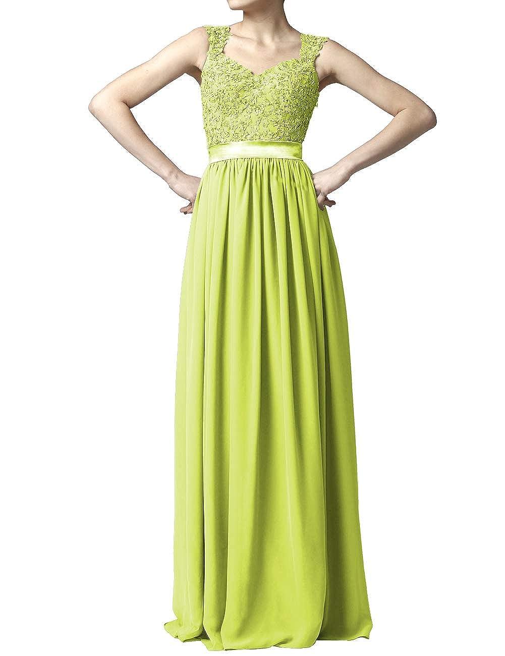 Lemon Green Women' Cap Sleeve Lace Bridesmaid Dresses Long Wedding Party Gowns