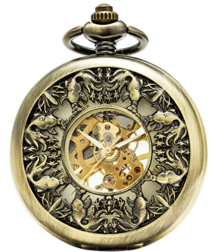 SEWOR Grace Koi Skeleton Pocket Watch Black Mechanical Hand Wind with Leather Gift Box - 15 Watch Jewels Pocket